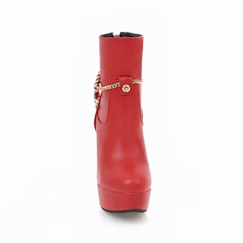 Charm Foot Womens Chic Zipper Platform High Heel Short Boots Red OhO5U