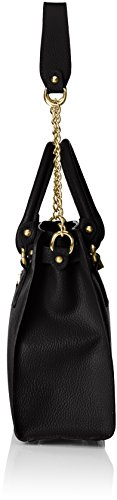 Italy Handbag carrying Woman's strap CTM leather shoulder for Elegant Nero with made exterior Black Cm 34x29x13 in genuine shoulder 6BwpwEq