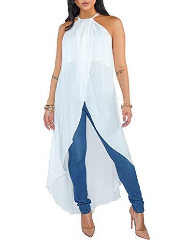ZerMom Women's Chiffon Dress Adjustable Spaghetti Straps Sleeveless Sexy Asymmetrical High Low Tops Blouses