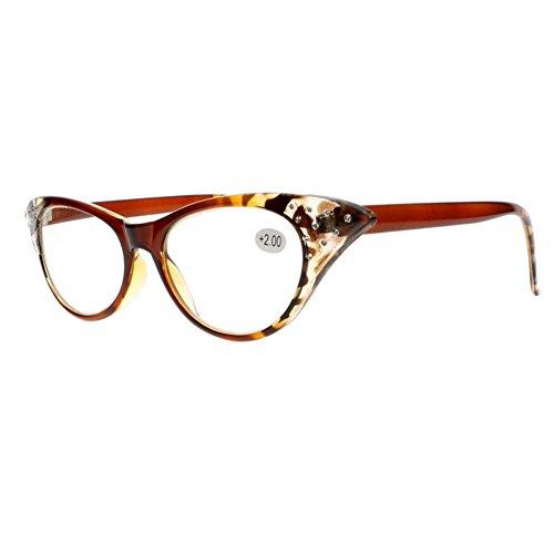 Sexy Cat Eye Designer Rhinestones Magnifying Reading Glasses For Womens Readers (Tortoise, 3.0) (Rhinestone Brown Reading Glasses)