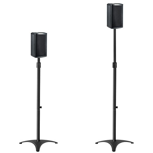 Mounting Dream MD5401 Height Adjustable Speaker Stands Mounts, Two in One Floor Stands, Heavy Duty Base and ExtendableTube with 11 LBS Capacity Per Stand, 35.5-48'' Height Adjustment by Mounting Dream