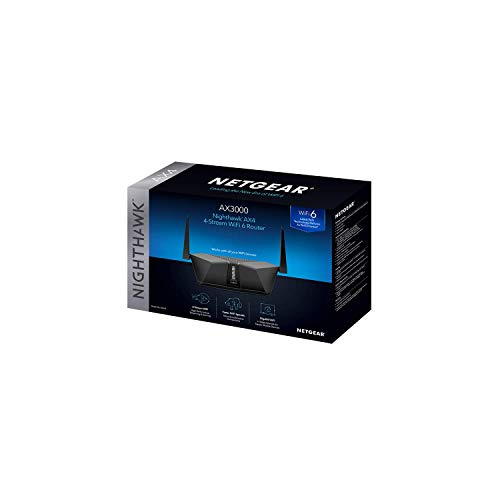 NETGEAR Nighthawk AX3000 4-Stream Dual-Band Wi-Fi 6 Router – RAX35-100NAS