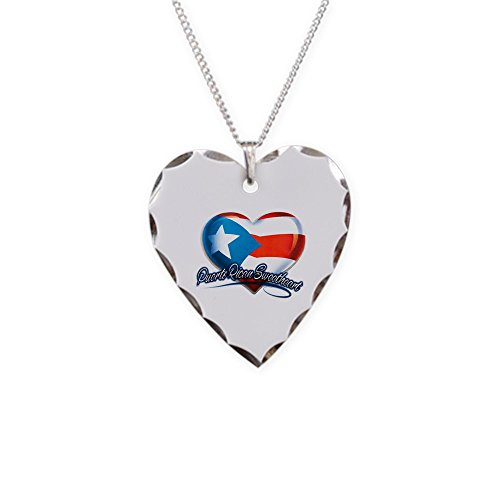 Necklace Heart Charm Puerto Rican Sweetheart Rico Flag