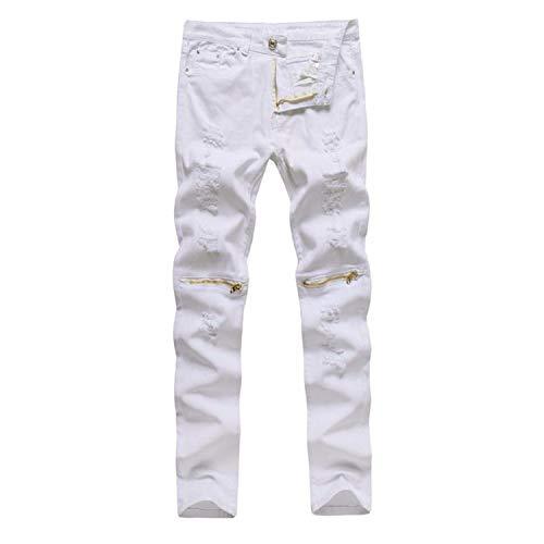 Homme Denim Pants - Frozac Mens Stretchy Ripped Slims Fits Biker Vintage Denim Jeans Hiphop Streetwear Hole Pants Pantalon Homme,White,30,China