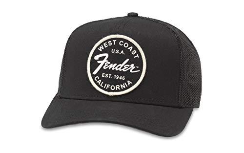 American Needle Valin Fender Guitars Trucker Hat (FEND-1906A-BLK) - Panel Brushed Cotton Mesh Cap