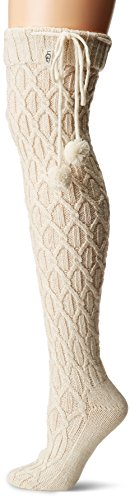 Ugg Women's Sparkle Cable Knit Sock, Cream with Gold, O/S