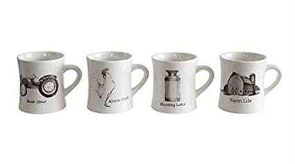 2bd467e39f7 Amazon.com | Creative Co-op Set of 4 Coffee Cups with Vintage Farm ...