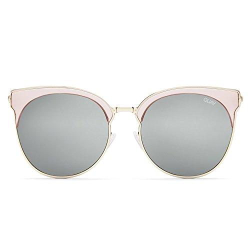 Quay Australia MIA BELLA Women's Sunglasses Round Winged Cat-Eye - - Silver Quay