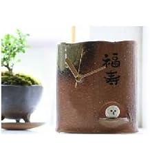 """Shigaraki Vintage Wood White Owl Table Clock """"Fukuju"""" New From Japan F/s"""