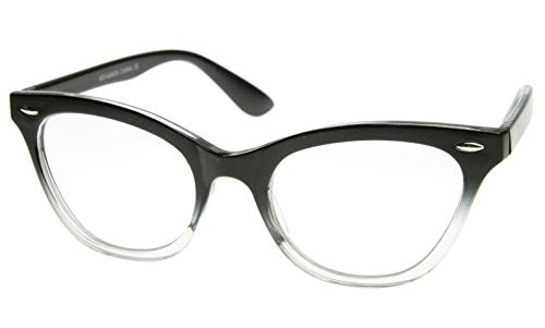 AStyles - Vintage Inspired Gradient Half Tinted Frame Clear Lens Cat Eye Glasses (Black-Clear-Bottom, Clear)