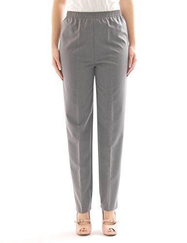Pantalon femmes DROIT Collants schlupfform ceinture extensible à plis n-größe - Gris Clair, 44(Deutschland) - 52(Italien)