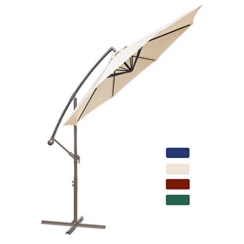 HASLE OUTFITTERS Offset Patio Umbrella 10FT Cantilever Umbrella Outdoor Market Umbrella Hanging Umbrella with Cross Base Beige ()