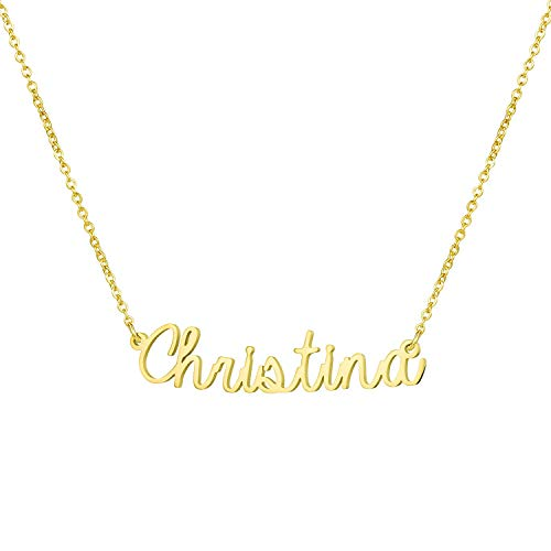 Yiyang Graduation Jewelry for Girls Personalized Name Necklace 18K Gold Plated Stainless Steel Birthday Gift for Women Christina