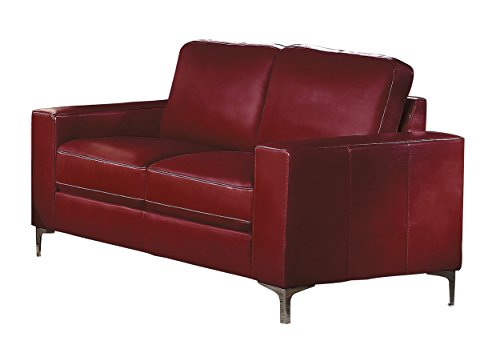 Homelegance Track Arm Loveseat with Metal Accent Leg Leather Gel Match, Red