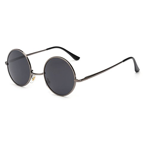 Surprising Day 80s 90s Retro Round Glasses Men Women Metal Round Sunglasses Vintage Small Hippie Glasses Circle Lenses GRAY - Sunglasses With Strap 80s