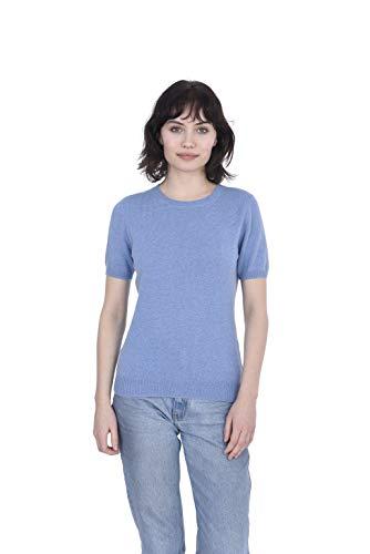 Cashmeren Women's 100% Pure Cashmere Short Sleeve Knitted Crew Neck Sweater (Baby Blue, Medium)
