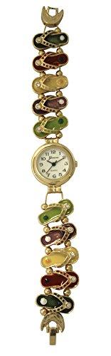 Geneva Fashion Bracelet Watch with Gold/Silver Tone and Colour Enamels Flip-Flops Design Bands ()