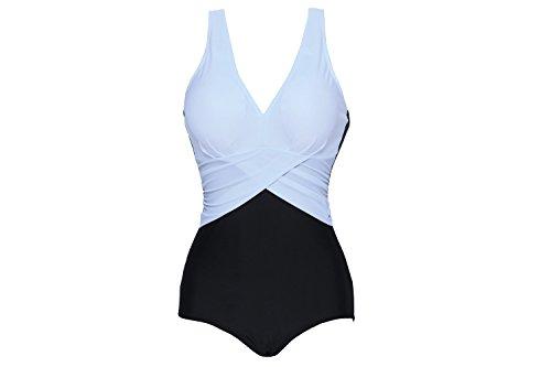 Urban Virgin Women's V-neck Halter Splice One Piece Bikini Plus Size Sport Swimsuit White XL:US8-10
