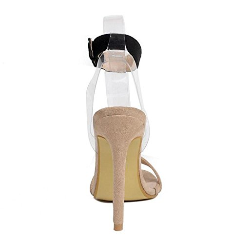 Transparent Heels Section Court Ankle Goddess Essential Shoes Women Beige Open Shoes High Heeled Strap Pumps Toe GLTER apricot Film Sandals Charm Suede 80wf4T