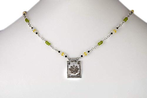 Fine Silver Stamped Flower Pendant with Yellow Cubic Zirconia Green Peridot Moonstone Black Spinel Gemstone Necklace with Sterling Chain 16