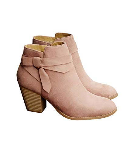 Ruanyu Womens Suede Ankle Boots Low Heel Pointed Toe Side Bow Western Ankle Bootie ()