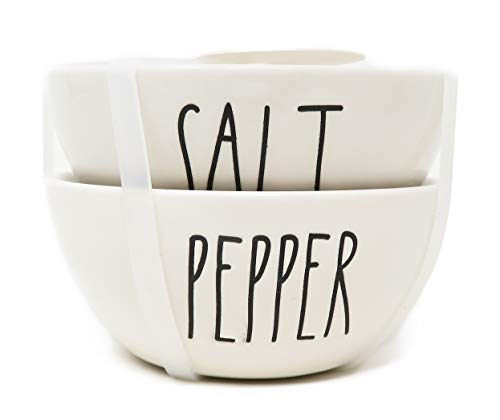 (Rae Dunn By Magenta 2 Piece SALT + PEPPER Ceramic LL Spice Seasoning Mini Bowl Set)