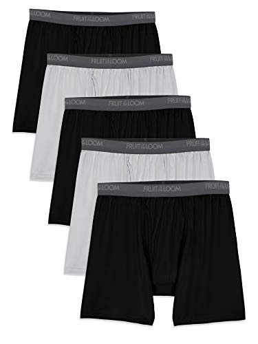 - Fruit of the Loom Men's Micro-Stretch Boxer Briefs, Black/Gray, Large