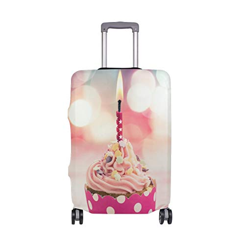 Travel Luggage Cover Pink Cupcake Candle Ribbon Glare Birthday Suitcase Protector Fits 29-32 Inch Washable Baggage Covers ()
