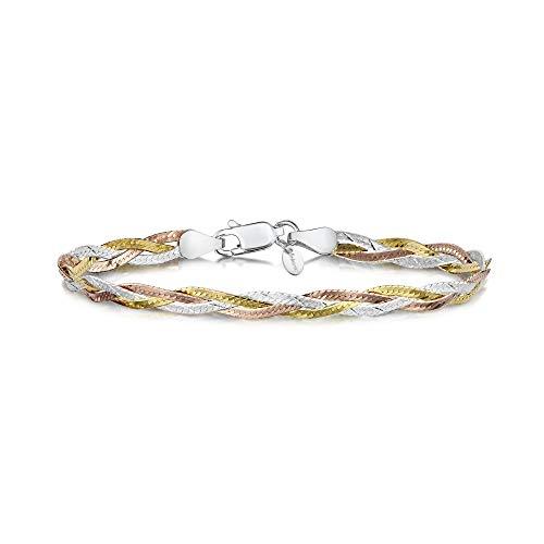 - Amberta 925 Sterling 3 Tone Silver 5 mm Herringbone Chain Bracelet Length 7.5