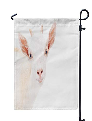 Soopat Cute Goat Head Seasonal Flag, Portrait Young Goat White Goat Funny Happy Adorable Weatherproof Double Stitched Outdoor Decorative Flags for Garden Yard 12