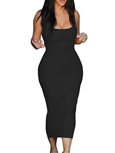 GOBLES Women's Casual Bodycon Clubwear Low Cut Elegant Pencil Tank Midi Dress Black (Low Cut Black Dresses For Women)