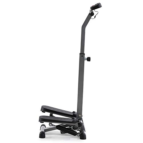 ECHANFIT Step Machine Stepper with Handlebar for Balance, Arm Training Resistance Bands and Electronic Monitor for Home Workout and Cardio Fitness