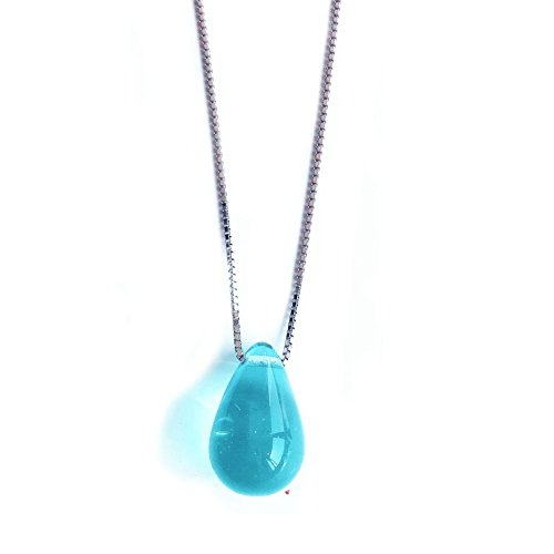 (Helen de Lete Handmade Rainbow Colorful Glaze Raindrop Sterling Silver Necklace-blue)