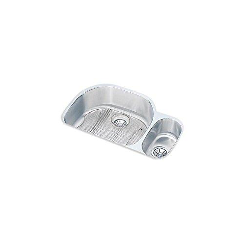 Harmony Lustertone Double Bowl - Elkay ELUH322110RDBG Lustertone Classic Offset 70/30 Double Bowl Undermount Stainless Steel Sink Kit