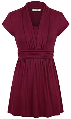 Empire Gathered Top Shirt - Bepei Plus Size Clothing for Women,Lady V Neck Embellished Colorful Top Asian Shirttail Hem Bodycon Tunic Short Sleeve Dating Cocktail Clubwear Polo Blouses Latest Versatile T-Shirt Maternity Wine 2XL