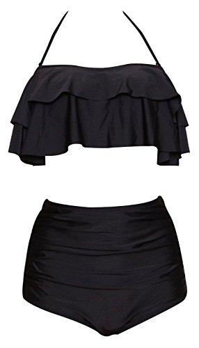 ccf16b227cc Haicoo Ruffle High Waisted Soft Comfortable Tankini Floral Pin Up Bikini