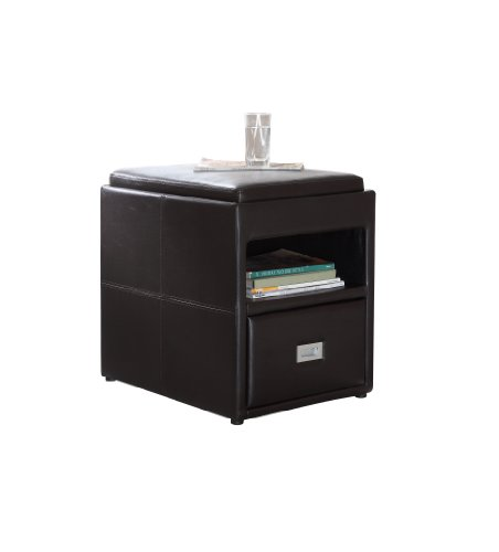 Homelegance 457PU Side Table with Storage Drawer, Dark Brown Faux Leather (Homelegance Contemporary End Table)