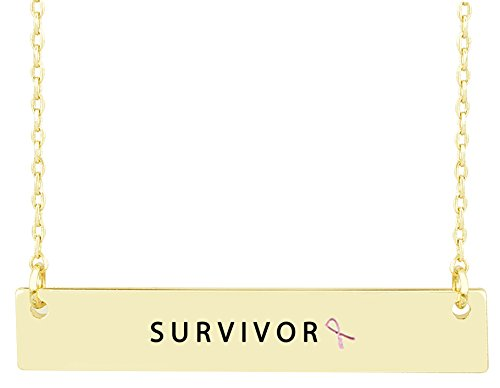 Mix&Match Breast Cancer Awareness Pink Ribbon Survivor, Hope, Stay Strong Engraved Bar Necklace (Survivor-Gold)