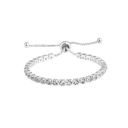 Moving Bracelet Diamonds - DZTZ Adjustable Bracelet,Simple Diamond Bracelet with Adjustable Crystal Push Pull Bracelet Bling Light for Girl Mother (J)
