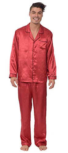 (Reflex Apparel Men's Satin Button Down 2 Piece Pajama Set with Contrast Piping (Burgundy, XX-Large))