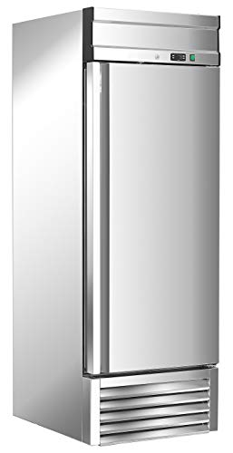 Chef's Exclusive CE302 Commercial One 1 Solid Door Upright Reach in Refrigerator Cooler 23 Cubic Feet Capacity 3 Adjustable Shelves Digital Controller Casters and Locks, 27 Inch Wide, Silver