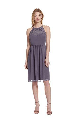 etti Halter Chiffon Cocktail Dress With Illusion Detail,Lilac,10 ()