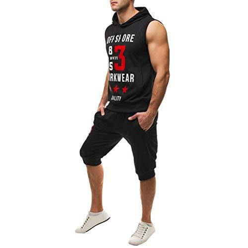 Men's Short Sleeve Jumpsuit Overalls Sport Sets Summer Leisure Fashion Print Sleeveless Hoodie Vest Shorts Black ()