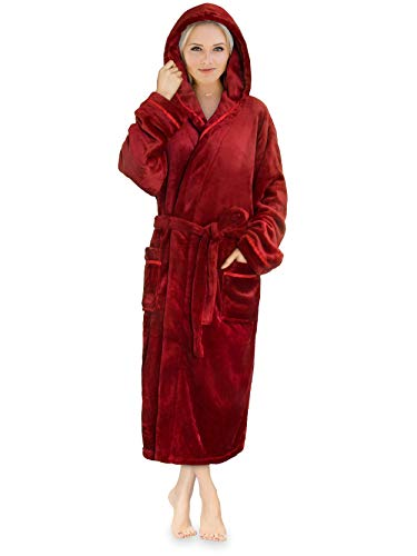 (Premium Women Fleece Robe with Hood and Satin Trim | Luxurious Soft Plush Bathrobe )