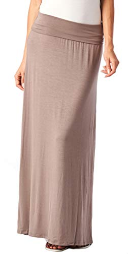 82 Days Women's Casual Solid Long Convertible Maxi Skirt Plus Size - Made In USA Large - Kosher Toffee