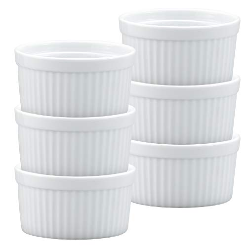 - HIC Ramekins, Fine White Porcelain Souffle, 3.5-Inch, 6-Ounce Capacity, Set of 6