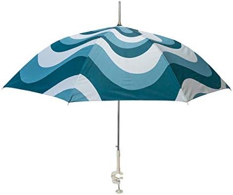 LA PLAYA Personal Beach Chair Umbrella Blue Waves w SPF