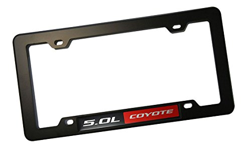 BLACK License Plate Tag FRAME with RED BLACK 5.0L COYOTE Aluminum Emblem Badge Nameplate Hood Trunk Fender Car Truck Auto Swap for Ford Mustang GT Boss Falcon F-150 F150 09 10 11 12 13 14 15 2009 2010 2011 2012 2013 2014 2015
