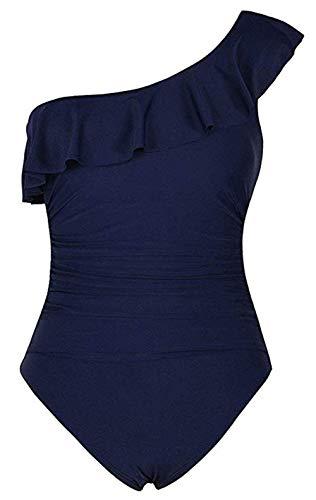 imsuit One-Shoulder Asymmetric Ruffle Monokinis Bathing Suits, Women's Plus Size Swimwear Bathing Suit Navy S ()