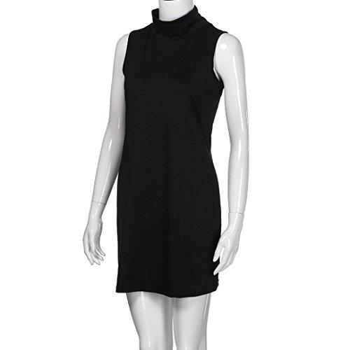 Damen Rollkragen Bluse Minikleid, ZIYOU Frauen Sommer Ärmelloses Abend Party Kleider Elegant Blusenkleid Tops Einfarbig Schwarz